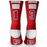 Custom Team Number Crew Socks   Athletic Socks by ChalkTalkSPORTS   Red   13