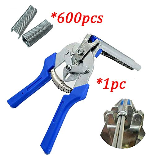 Stapler Type M Nail Poultry Cage Fasten Plier Wire Cage Clamp Chicken Birds Rabbit Cage Fasten Tool (Plier with 600pcs nail)