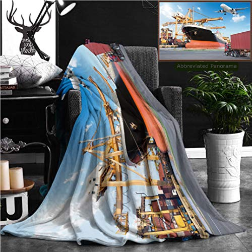 Nalagoo Unique Custom Flannel Blankets Container Cargo Freight Ship With Working Crane Loading Bridge In Port And Truck Transport Super Soft Blanketry for Bed Couch, Throw Blanket 70
