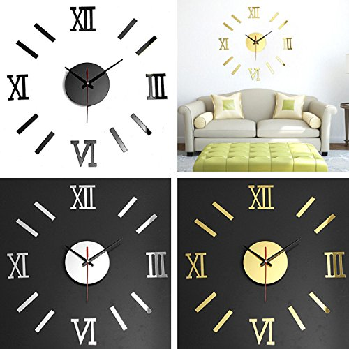 CoZroom Large Silver 3D Frameless Wall Clock Stickers DIY