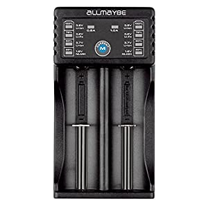 ALLMAYBE EC2 Universal Speedy Smart Battery Charger for Rechargeable Batteries Ni-MH Ni-Cd AA AAA Li-ion LiFePO4 IMR 10440 14500 16340 18650 RCR123 26650 with USB Port