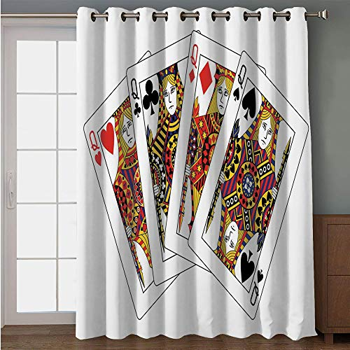 iPrint Blackout Patio Door Curtain,Queen,Queens Poker Set Faces Hearts and Spades Gambling Theme Symbols Playing Cards,Black Red Yellow,for Sliding & Patio Doors, 102