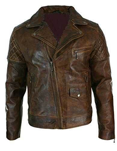 World of Leather Biker Leather Jacket Racer Oil Pull Motorcycle Vintage (M40) ()