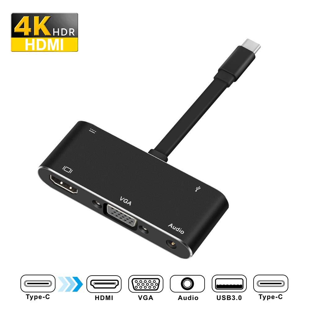 Rocketek USB-C a HDMI VGA Adaptador Type C Hub Adaptador con
