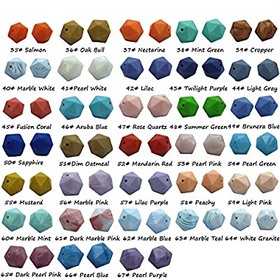 50pcs Silicone Polyhedron Beads BPA Free Hexagon Beads 14mm Food Grade Silicone Teether DIY Baby Teething Beads Necklace Toys (Mix Color): Arts, Crafts & Sewing