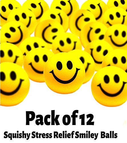Toy Cubby Yellow Smiley Face Stress Ball - 12 Pcs. 1.5 inches