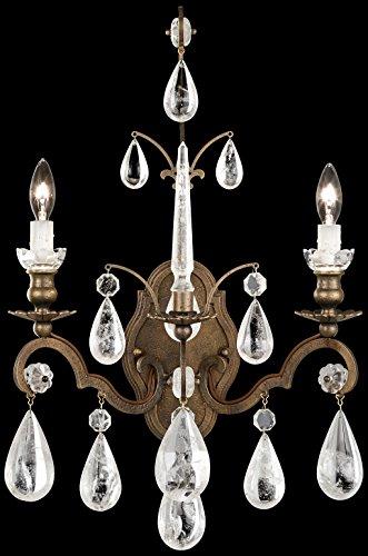 Schonbek 2461-47 Swarovski Lighting Versailles Rock Crystal Wall Sconce, Antique Pewter