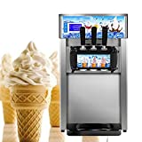 Enshey Commercial Ice Cream Machine 18L/H Food Grade 304 Stainless Steel 3 Flavor Hard Ice Cream Dessert Maker 110V / 60Hz Small Desktop 1200W Digital Display Low Power Ice Cream Making Machine