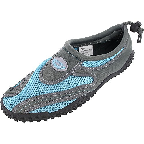 Easy Usa Womens Aqua Wave Water Shoes Calze Grigio / Blu 1185l