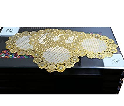 Asian Handloom Round Dining Place Mat Set of 6 Pcs (15 * 15 inches),Golden Color