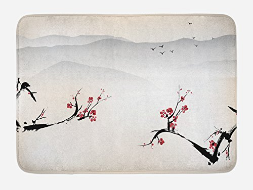 (Ambesonne Asian Bath Mat, Japanese Nature Landscape National Sakura Flower Over Himalayas and Flying Gulls, Plush Bathroom Decor Mat with Non Slip Backing, 29.5 W X 17.5 L Inches, Beige)