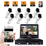 ZY Wifi Wireless Network/IP Security Camera System Video Surveillance CCTV NVR Kits with 8PCS Waterproof Bullet IP Camera with 10