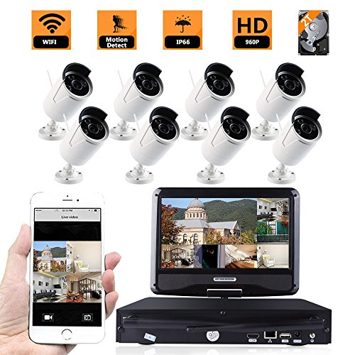 ZY Wifi Wireless Network/IP Security Camera System Video Surveillance CCTV NVR Kits with 8PCS Waterproof Bullet IP Camera with 10' inch LCD Screen Display Monitor (With 2TB HDD) (960P)