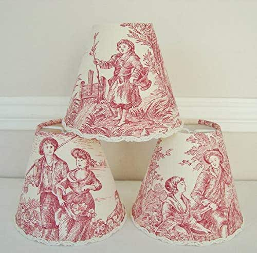 Amazon Com French Country Toile Lamp Shade Rose Red 4 3