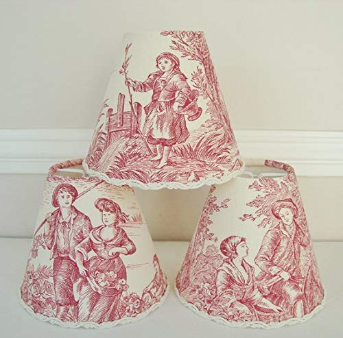 French country toile lamp shade rose red 4.3 ins x 5.1 ins clip on for sconce or - Shades French Country Chandelier