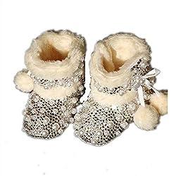 Baby Girls Warm Rhinestone Pearl Boots