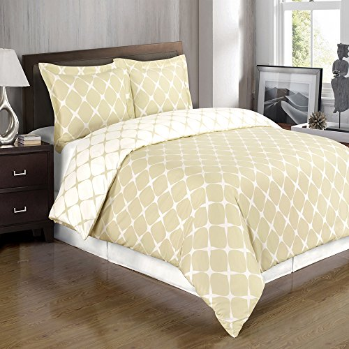 Deluxe Reversible Bloomingdale Duvet Cover Set, 100% Cotton 300 Thread Count Bedding, Woven with Superior Single-ply Yarn. 3 Piece Full/Queen Size Duvet Cover Set, Beige and Ivory