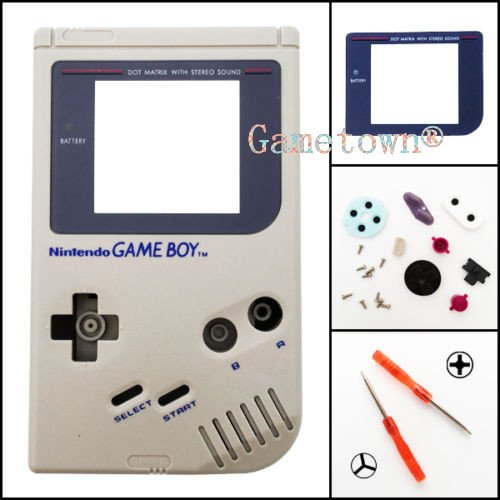 Full Housing Cover Case - NEW Full Housing Shell Cover Case Pack with Screwdriver for Nintendo Gameboy Classic/Original GB DMG-01 Repair Part-Gray