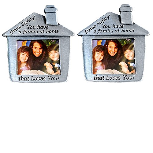 SET of 2 - Drive Safe Family Photo Frame - Car Visor Clip-On, Pewter, House (Dad Visor Clip)