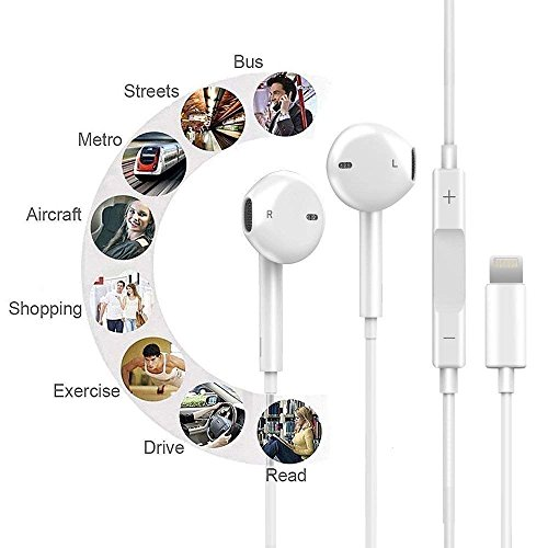 Lightning Earphones,With Microphone Earbuds Stereo Headphones and Noise Isolating headset Made for iPhone 7/7 Plus iPhone8/8Plus iPhone X Earphones,Support all iOS system by my-handy-design (Image #2)