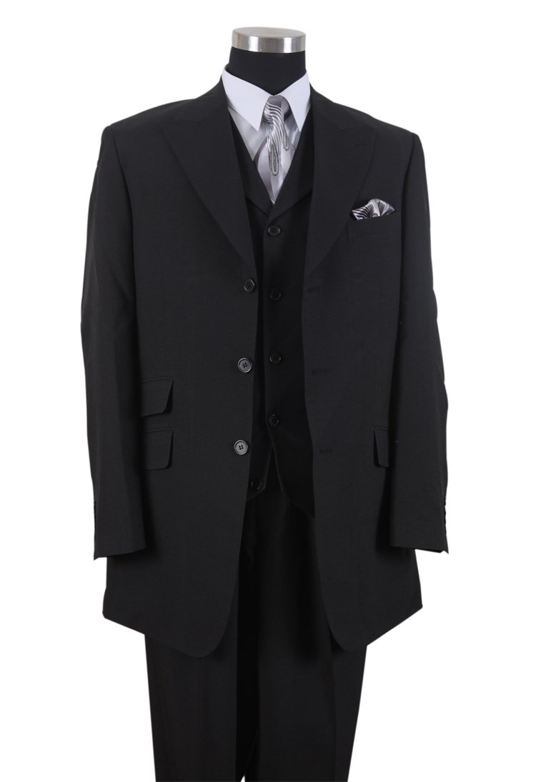 Milano Moda mens Suit 3 Piece Set Solid Regular Fit HL905V New York Brand