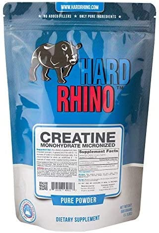Hard Rhino Creatine Monohydrate Micronized Powder, 500 Grams 1.1 Lbs , Unflavored, Lab-Tested, Scoop Included