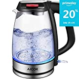 Electric Kettle Glass Tea Kettle, 1.7L Ultra Fast Water Boiler, Durable Borosilicate Glass and 304 Stainless Steel, Double Safety Locker, Boil Dry Protection and Auto Shut off, BPA Free, Aicok