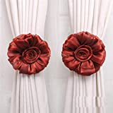 DZT1968®1 Pair Rose Flower Window Treatment Curtain Holdback Decor Tieback (Red)