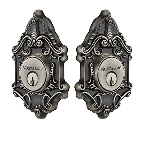 Nostalgic Warehouse 733017 Victorian Plate Double Cylinder Deadbolt Victorian Door Knob in Antique Pewter,
