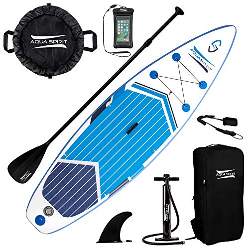 AQUA SPIRIT Premium Inflatable Stand Up Paddle Board for Adults & Youth | Beginner & Intermediate iSUP Hybrid Touring & Racing Model Plus Adjustable Aluminum Paddle (11' x 33