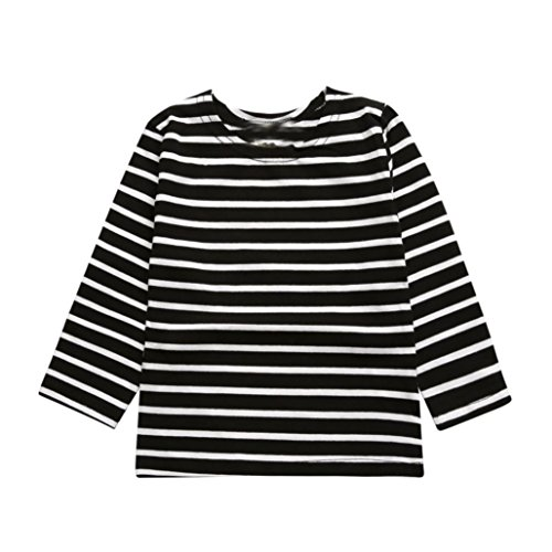 Kids Tops,Baby Toddler Boys Girls Autumn Winter Stripe Long Sleeve T Shirt Blouse Sweatshirt Clothes 3-7T (6-7 Years Old, Black)