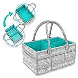 SOFTEEN Baby Caddy Diaper Organizer Portable, Baby Caddy Basket Bag Organizer Bin, Car Organizer for Diaper & Baby Wipes, Nursery Diaper Tote Bag, Baby Caddy Diaper Stackers Bag for Nursery