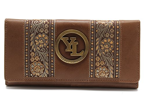 yl-womens-genuine-leather-clutch-wallet-purse-hipster-embroidery-lace-yl-21-brown
