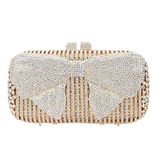 - Fawziya Bow Crystal Clutch Purses For Women Evening Bags And Clutches-Gold