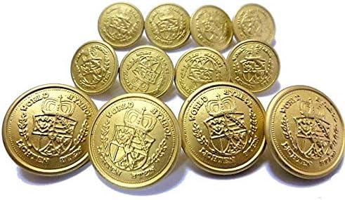 ジャケット用 金色メタル(金属) ボタン 21mm 4個 15mm 8個 合計12個入り