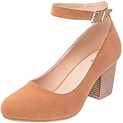 Luoika Women's Wide Width Heel Pump - Ankle Buckle Strap Round Closed Toe Dressing Shoes.