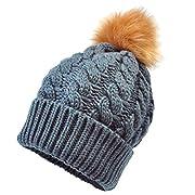 GOTD Baby Winter Warm Knit Hat Infant Toddler Kid Crochet Fur Hairball Beanie Cap (Dark Gray)