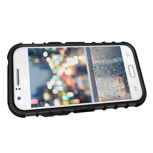 E8Q resistente a prueba de golpes Tread Caso del modelo híbrido de caucho el caso protector para Samsung Galaxy J1 Verde