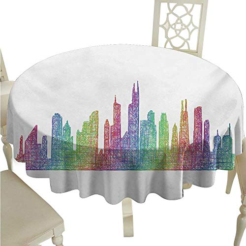 longbuyer Round Tablecloth Plastic Chicago Skyline,Abstract City Scene in Mixed Rainbow Tones Modern Featured Artful Kitsch,Multicolor D50,for Cards