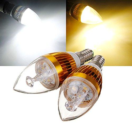 Lights & Lighting - E14 6w White/Warm White 3 Led Golden Chandelier Candle Bulb 85-265v - Light Bulb Candelabra Motion Sensor Socket Deco Grow Golden Candle - 360 - 1PCs ()