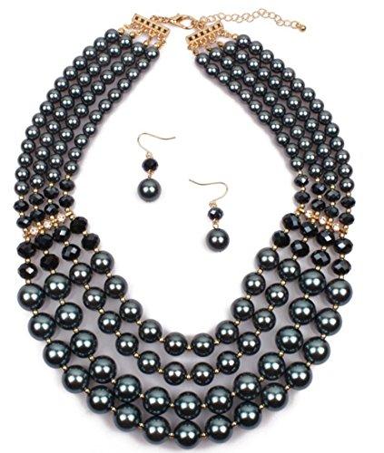 Shineland Elegant Multi-Strand Pearl Glass Crystal Cluster Collar Bib Choker Necklace EarringSets (4 Layered Hematite) - Hematite Plastic Necklace