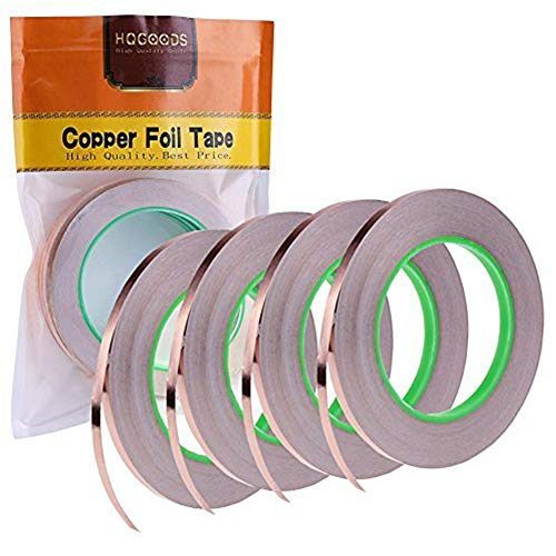4 Pack Copper Foil Tape with Conductive Adhesive for EMI Shielding, Slug Repellent, Paper Circuits, Electrical Repairs, Grounding(1/4inch) by HQGOODS
