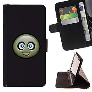 - Friendly Cookie Face - - Prima caja de la PU billetera de cuero con ranuras para tarjetas, efectivo desmontable correa para l Funny HouseFOR HTC One M9