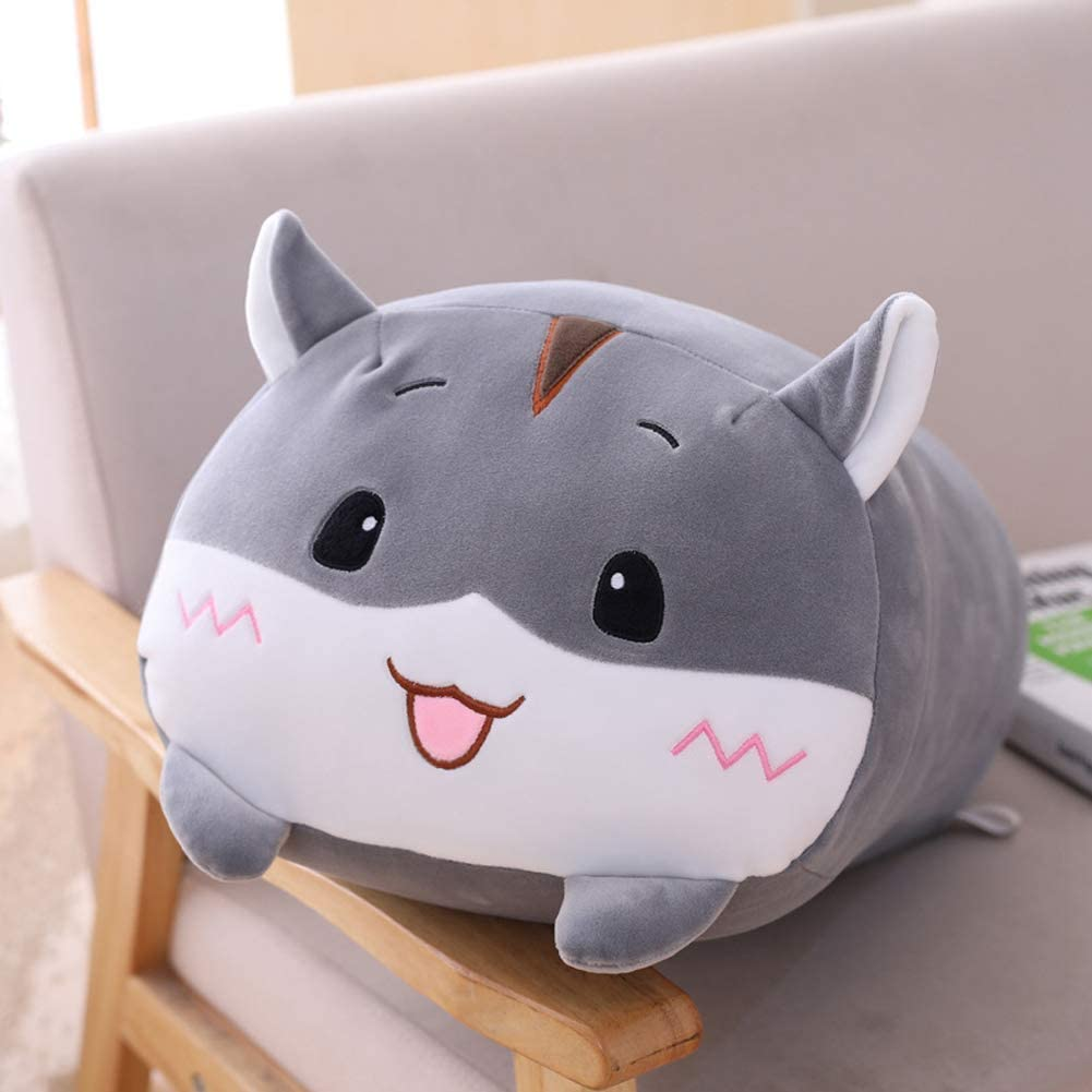 "Hamster Plush Hugging Pillow, Soft Hamster Stuffed Animals Toy Body Pillow (Grey, 33.5"")"