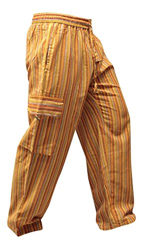 Shopoholic Fashion Mens Light Weight Stripe Hippy Combat Trouser (Orange,2XL)