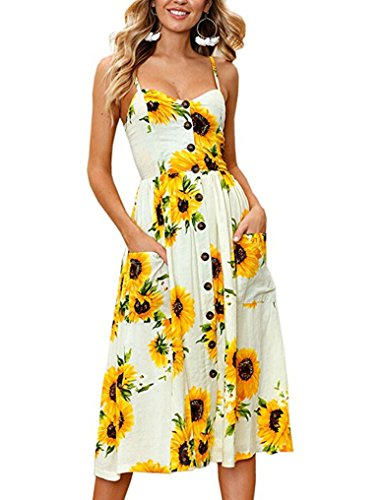 r Floral Print Strap Casual Button Midi Dress with Pockets (XXL, Yellow) ()