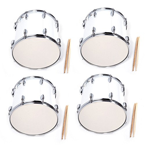 - 4 x Stainless Steel & Wood Marching Snare Drum Percussion Poplar Silver