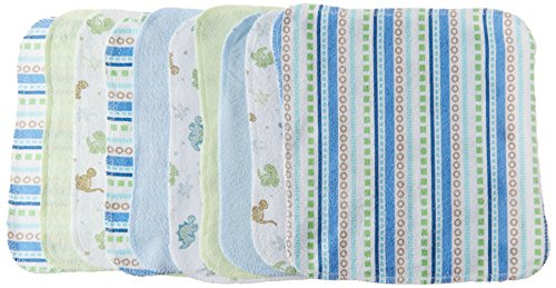 Spasilk Washcloths, Blue Stripes, 10 Count