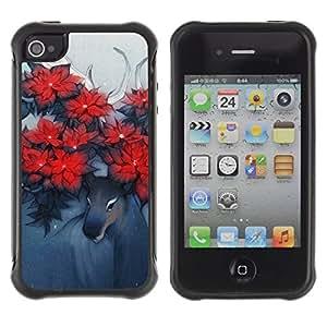 Suave TPU Caso Carcasa de Caucho Funda para Apple Iphone 4 / 4S / Deer Art Horns Forest Nature Flowers Red / STRONG