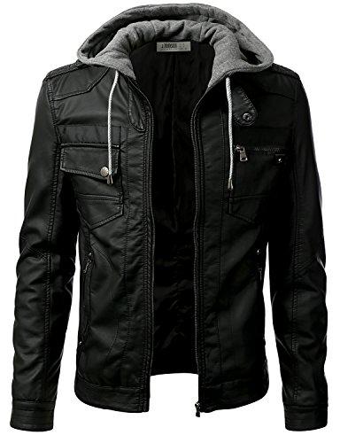 IDARBI Men's Premium Pu Leather Motorcycle Bomber Jacket with Detachable Hood
